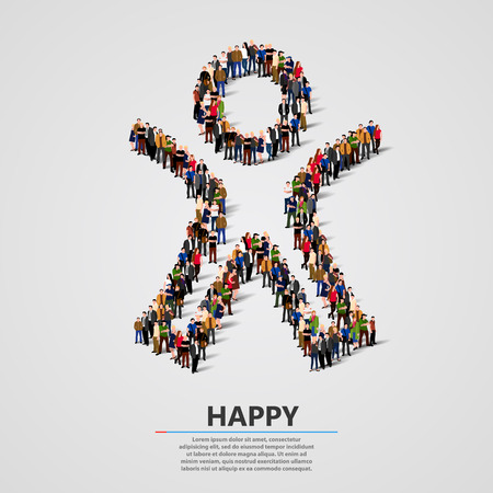 Large group of people in the shape of happy man. Vector illustration.