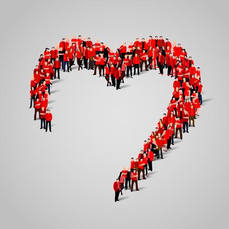comunidad: Gran grupo de personas en la forma de corazón. ilustración vectorial Vectores