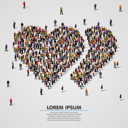 large crowd of people: Large group of people in the shape of double hearts. Vector illustration Illustration