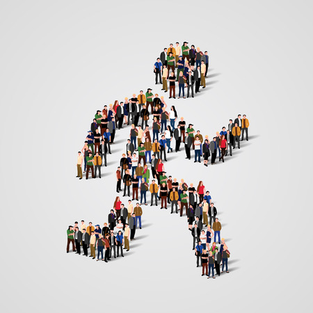 Large group of people in the form of running man. Vector illustration.