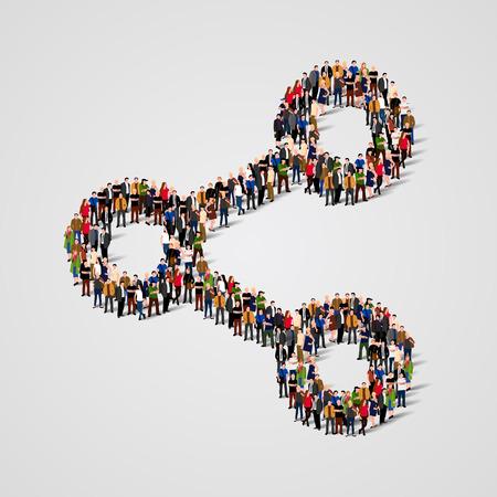 Grote groep mensen in de vorm van aandelen te ondertekenen. Vector illustratie. Vector Illustratie