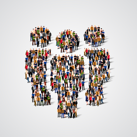 targets: Large group of people in shape of team sign. Vector illustration