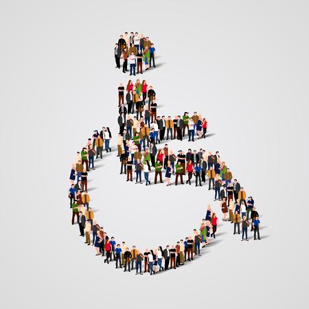Grand groupe de personnes en forme de fauteuil roulant. Illustration vectorielle