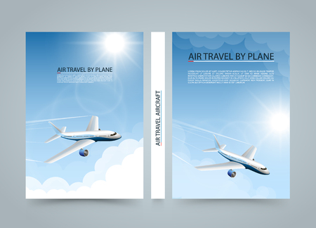 page layout: Air travel by plane, Modern airplane sun banners, Cover A4 size, Airplane taking off at sunset, Airline transportation, Vector illustration