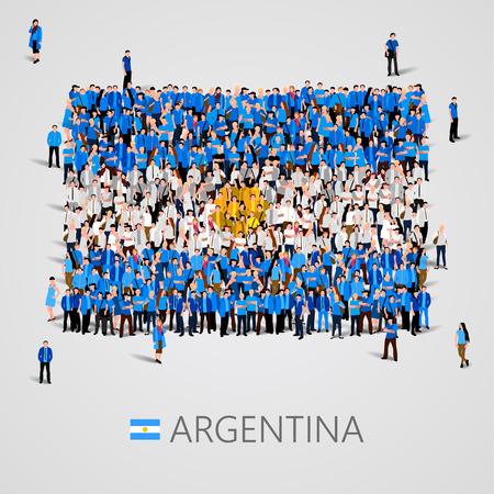 bandera argentina: Gran grupo de personas en la forma de la bandera de Argentina. ilustración vectorial Vectores