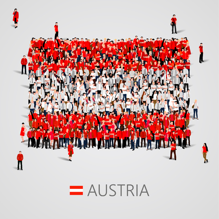 yong: Large group of people in the shape of Austria flag. Vector illustration Illustration