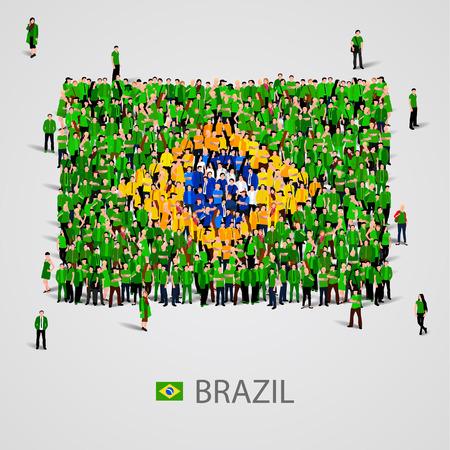 Gran grupo de personas en la forma de la bandera de Brasil. ilustración vectorial Ilustración de vector