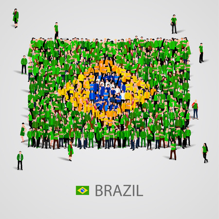 Large group of people in the shape of Brazil flag. Vector illustration