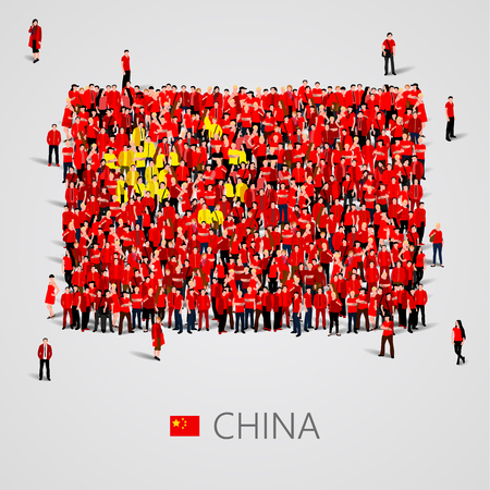 yong: Large group of people in the shape of China flag. Vector illustration