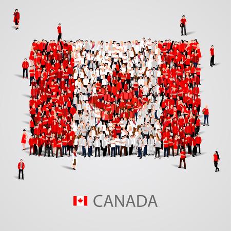 estudiante: Gran grupo de personas en la forma de la bandera de Canadá. ilustración vectorial