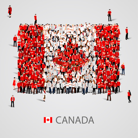 Grand groupe de personnes en forme de drapeau du Canada. Vector illustration