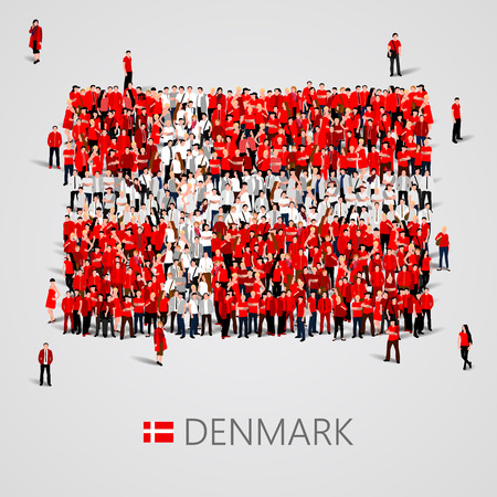 yong: Large group of people in the shape of Denmark flag. Vector illustration