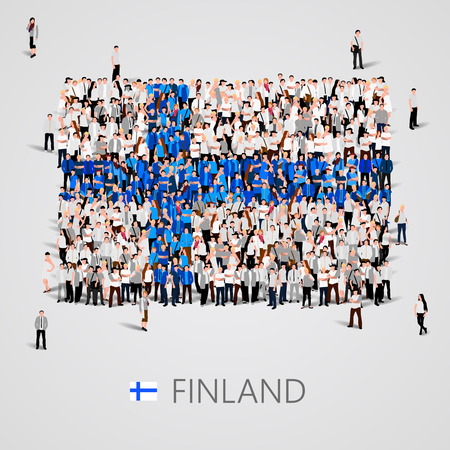 yong: Large group of people in the shape of Finland flag. Vector illustration