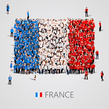 Large group of people in the shape of France flag. Vector illustration