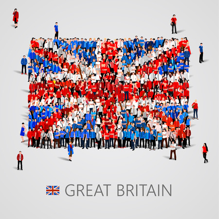 yong: Large group of people in the shape of Great Britain flag. Vector illustration