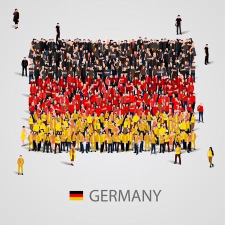 bandera de alemania: Gran grupo de personas en la forma de la bandera de Alemania. ilustración vectorial
