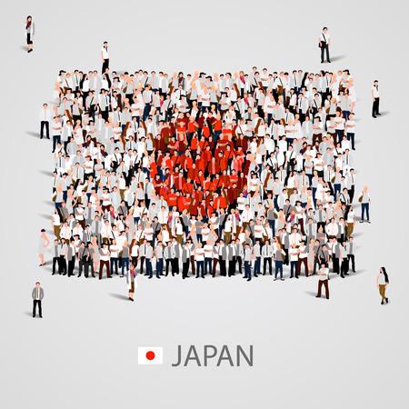 Gran grupo de personas en la forma de la bandera de Japón. ilustración vectorial