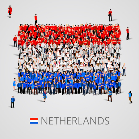 yong: Large group of people in the shape of Netherlands flag. Vector illustration