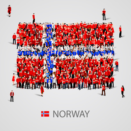 social history: Large group of people in the shape of Norway flag. Vector illustration Illustration