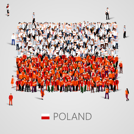 Large group of people in the shape of Poland flag. Vector illustration