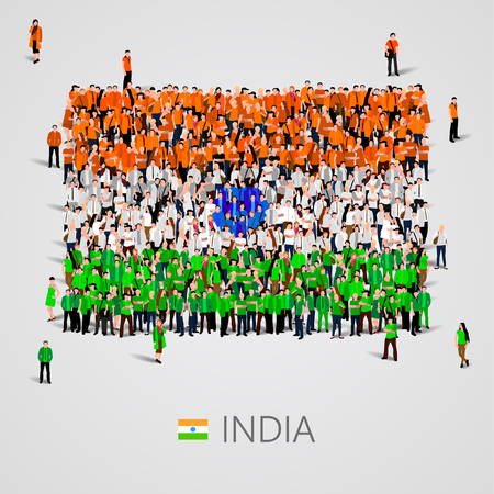 Large group of people in the shape of India flag. Vector illustration