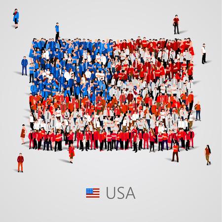 Grand groupe de personnes dans la forme des USA flag. Vector illustration Vecteurs