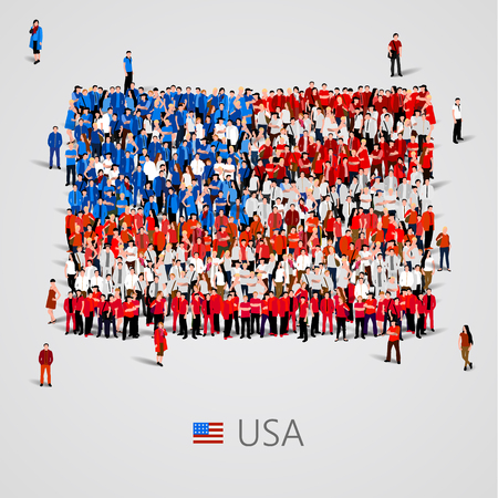 social history: Large group of people in the shape of USA flag. Vector illustration Illustration
