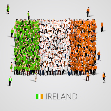 yong: Large group of people in the shape of Ireland flag. Vector illustration