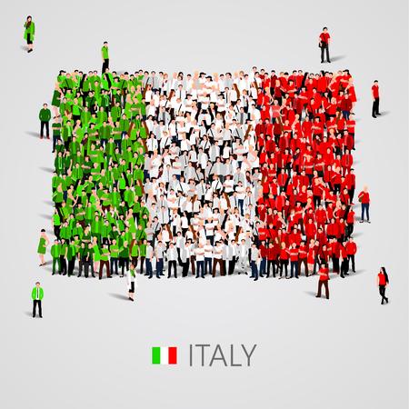 イタリアの国旗の形をした大人数。ベクトル図 写真素材 - 57806947