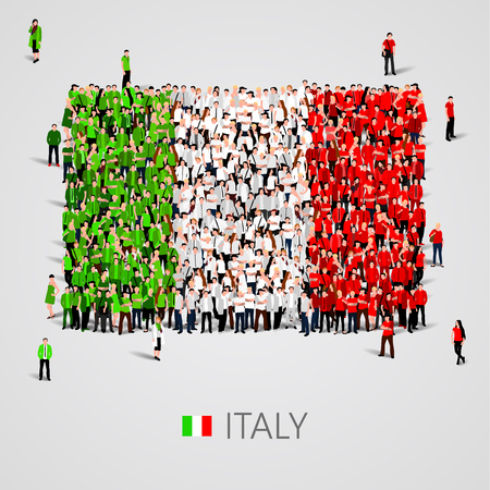 social history: Large group of people in the shape of Italy flag. Vector illustration