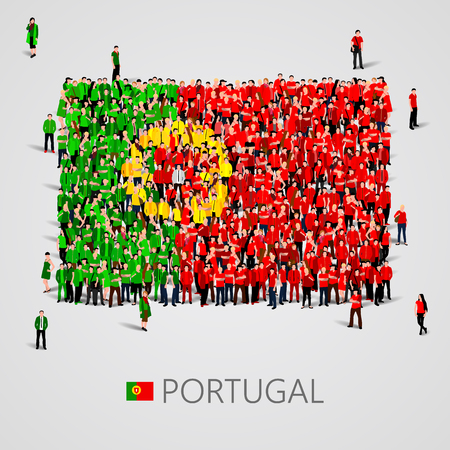 yong: Large group of people in the shape of Portugal flag. Vector illustration Illustration