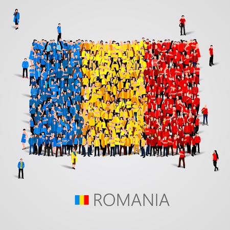 Gran grupo de personas en la forma de bandera de Rumania. ilustración vectorial