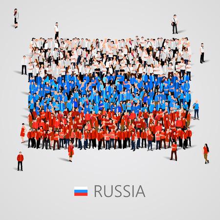 national: Gran grupo de personas en la forma de la bandera de Rusia. ilustración vectorial