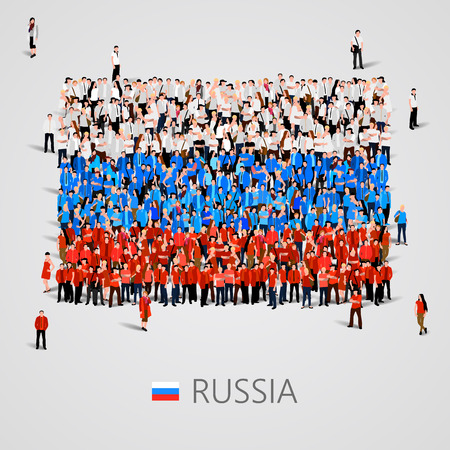 Large group of people in the shape of Russia flag. Vector illustration Illustration
