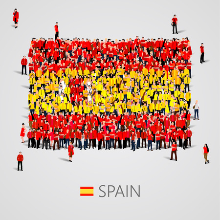 gatherings: Large group of people in the shape of Spain flag. Vector illustration