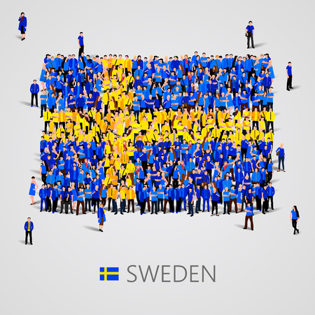 yong: Large group of people in the shape of Sweden flag. Vector illustration Illustration