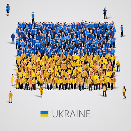 우크라이나 국기의 모양에있는 사람들의 큰 그룹입니다. 벡터 일러스트 레이 션