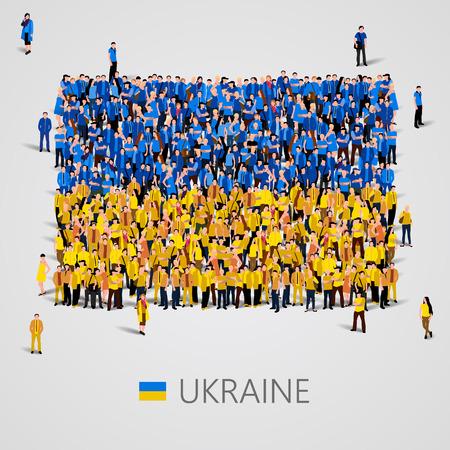 Grote groep mensen in de vorm van de vlag van de Oekraïne. vector illustratie