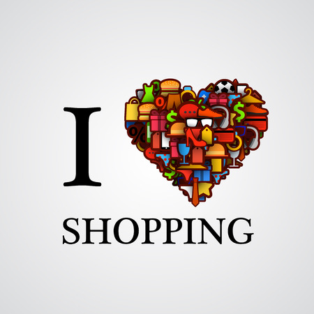 I love shopping, font type with heart sign. Vector illustration Çizim