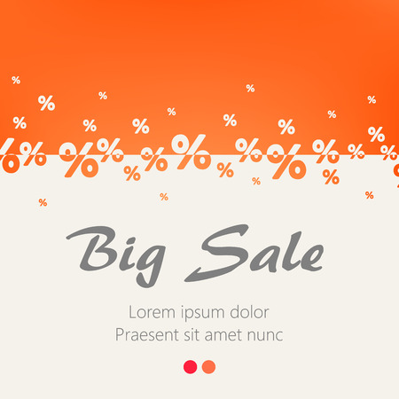 Creative abstract orange percent background. Big sale concept. Vector illustration.