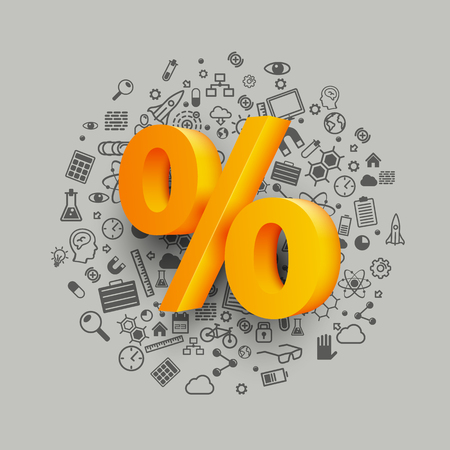 Golden percent sign on icon background. Vector illustration.