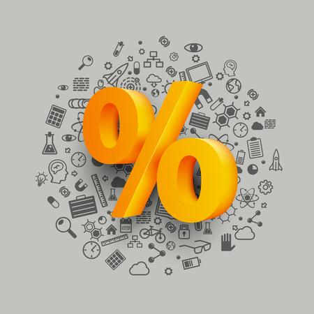 Goldene Prozent-Zeichen auf dem Symbol Hintergrund. Vektor-Illustration. Vektorgrafik