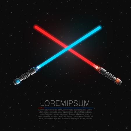 Dva procházet přes futuristické světelné meče. vektorové ilustrace