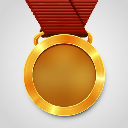 emty: Emty award gold medal with red ribbon. Vector illustration