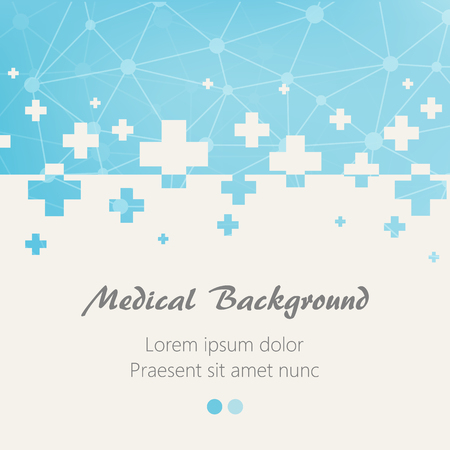 Blue medical design background with crosses. Vector illustration 일러스트