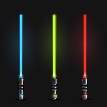 Set of futuristic light swords. Vector illustration