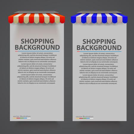 Store striped awning modern banner. Vector illustration