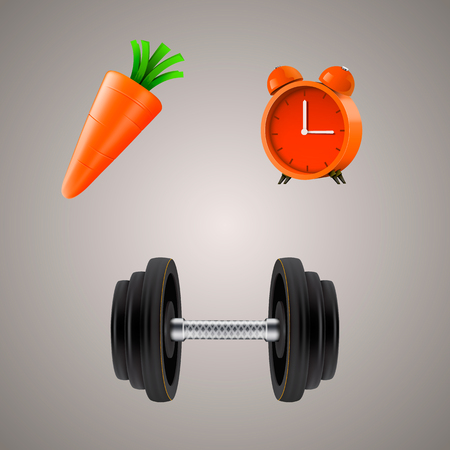 carotene: Set of sport diet illustrations. Clean vector