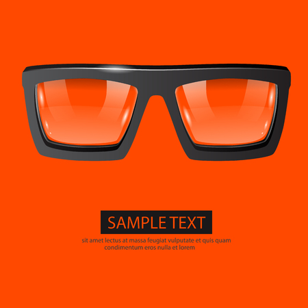 black yellow: Clean vector glasses on orange background. Fashion concept