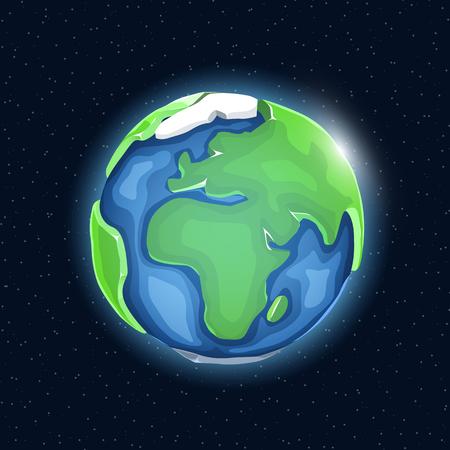 Realistic beautiful planet earth globe. Vector illustration